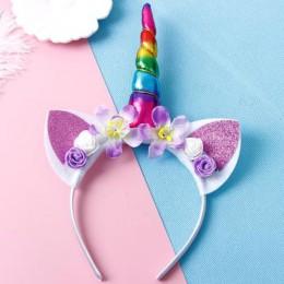 Dziewczyny kwiat kocie uszy śliczne jednorożec opaski nakrycia głowy dla dzieci rekwizyty fotograficzne peruki imprezowe Hoop Ha