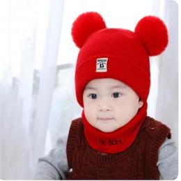 2 szt. Czapki bez daszka dla dzieci zestaw czepków dziecko dziecko jednokolorowe pluszowa piłka dziewczynek kapelusz i zestaw sz
