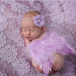 Moda noworodków dzieci z piór koronki pałąk i skrzydła anioła zdjęcie kwiatów rekwizyty noworodka fotografia rekwizyty