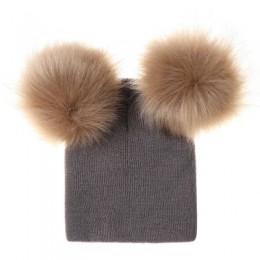 Ideacherry dzieci kapelusz maluch dzieci dziecko ciepłe zimowe wełniane kapelusz dziergana czapka futrzany pompon czapka z pompo