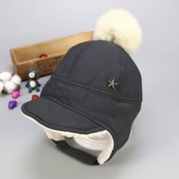 Zimowa ciepła czapka typu beanie dla dzieci z pomponem chroń czapkę dla dziewczynek chłopców Plus aksamitna bawełna pięć kapelus