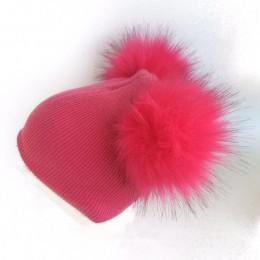 Czapka z daszkiem czapka zimowa dla dzieci noworodek dla dzieci faux futro czapka z wełny czapka z dwoma podwójnymi pom pom dla