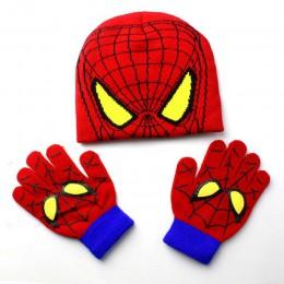 Czapka dla niemowląt zestaw rękawiczek dla dzieci kreskówkowe minionki rękawiczki czapki zestawy Spiderman moda dla dzieci ciepł