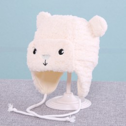 Nowy słodki miś nauszniki dziecięce czapki zimowe aksamitne ciepłe czapki dla niemowląt Cartoon miękka czapka bez daszka czapka