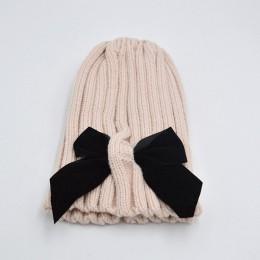 Big Bows dzianiny dziewczynka kapelusz czapka jesień zima ciepłe dzieci dziecko czapka zimowa jednolity kolor dziecko czapka Bon
