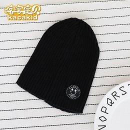 KACAKID oficjalny sklep jednokolorowy ciepły czapka dla niemowląt Unisex chłopcy dziewczyna dziecko czapka z dzianiny czapka mod
