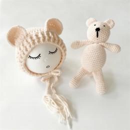 2019 nowa dziergana czapka beanie + miś zabawka nowonarodzone dziecko maluch niemowlę niedźwiedź zdjęcie Prop fotografia czapka