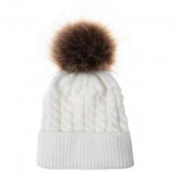 Czapki zimowe dla dzieci czapka dzianinowa czapka dla niemowląt 2018 dzieci futrzane czapki z pomponem dla dziewczynek chłopcy c