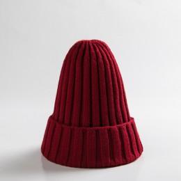 Cukierki kolor czapka dla niemowląt śliczne jesienne zimowe spiczaste czapki dla dzieci chłopcy dziewczęta Kintted ciepła czapka