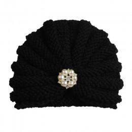 Moda zima dziecko dziewczyna kapelusze z perłami cukierki kolor dzianiny noworodka czapka typu beanie dla dzieci Fotografia czap