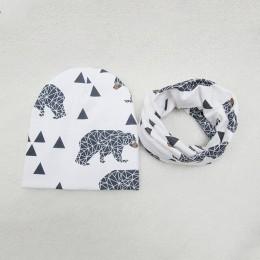 1 zestaw czapka dla niemowląt szalik bawełna czapka dla dzieci jesień zima dzieci szalik-kołnierz chłopcy ciepłe czapki nadruk k