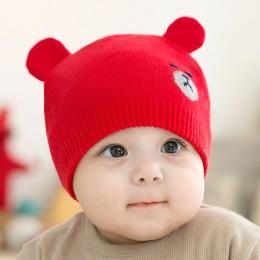 DreamShining Cute Bear czapka dla niemowląt czapki czapka dla malucha dzianiny ciepłe dzieci czapki zimowe noworodka fotografia