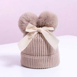 Podwójna pomponowa czapka dla niemowląt zimowa dzianinowa dla dzieci dziewczynka czapka ciepła grubsza dla dzieci czapka dla nie