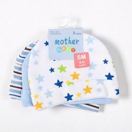 Matka Nest 3 sztuk/partia czapki dla dzieci różowy/niebieski z nadrukiem w gwiazdki czapki dla dzieci i czapki dla noworodka akc