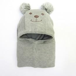 Zimowe ciepłe dzianiny małe dziewczynki i chłopcy czapka z pomponem z ciepłym podszycie polarowe słodkie niedźwiedź uszy kapelus