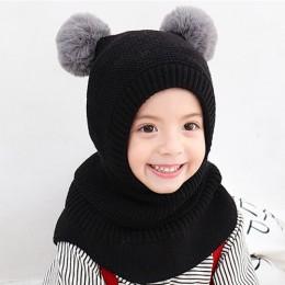 Nowa zimowa czapka dla niemowląt Pom Pom dzianiny dla dzieci czapka typu beanie dla dziewczynki i chłopca kapelusz maska szalik