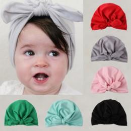 Nowe czapki dziecięce śliczne nowonarodzone maluch dzieci dziewczynka Turban bawełniana czapka kapelusz solidna czapka zimowa