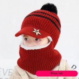 Czapka zimowa dla dzieci Pom Pom czapki beanie czapka dla dziewczynki i chłopca z ciepłym podszycie polarowe czapki dla dzieci H