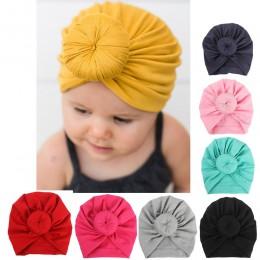 HOT Baby Turban maluch dzieci chłopiec dziewczyna indie kapelusz piękny miękki czapka bawełniana cukierki stałe noworodka fotogr
