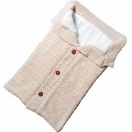 Śpiwór dla dziecka koperta zimowa dla dzieci śpiwór dla wózka śpiwór z dzianiny noworodek przewijać wełniana dzianina Slaapzak
