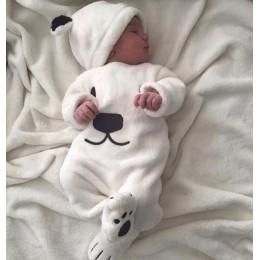 3 kawałki z długim rękawem z polaru niedźwiedź Top spodnie i zestaw kapeluszy dla chłopca ciepłe zimowe ubrania