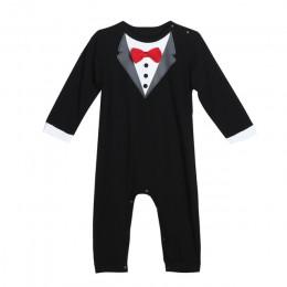 Maluch przystojny dziecko Pompers fajny chłopak ubrania dla dzieci kostium z długim rękawem dla niemowląt kombinezon GentlemenBl