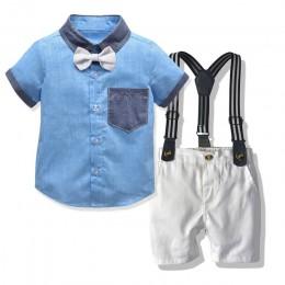 Najlepsze i najlepsze zestawy ubranek dla niemowląt niemowlęta nowonarodzone chłopięce ubrania spodenki rękawy topy + kombinezon