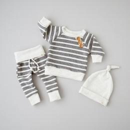 3 sztuka z długim rękawem w paski przyciski wystrój bluza Top, spodnie w paski z zestaw kapeluszy dla Baby Boy jesień ubrania