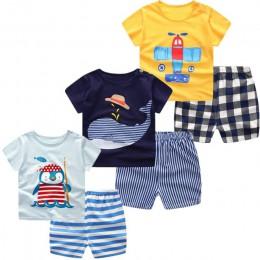 3 sztuk/partia 2018 Boys Baby dziewczyny odzież zestaw lato z krótkim rękawem Cartoon bawełna niemowlę noworodka ubrania garnitu
