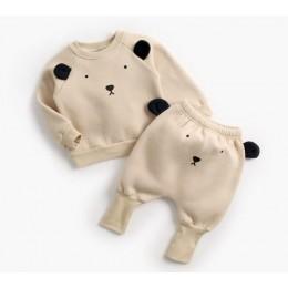 Kombinezon dziecięcy jesienno-zimowy chłopczyk kreskówka urocze ubranka bluza z kapturem Top + spodnie zestaw ubrań dla dzieci m