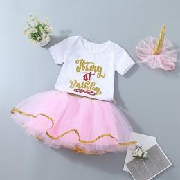 Dziewczynek stroje urodzinowe niemowlę 1st spódnica tutu ubrania zestaw z pałąkiem na głowę biały body pettiskirt garnitur dla d