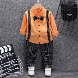 Brytyjski styl baby boy odzież jeden rok urodziny ślub kostium zestaw dla noworodka topy dla małego chłopca spodnie z paskiem ga