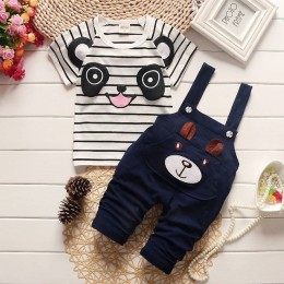 2019 letnie dziecko chłopcy odzież zestaw panda cartoon niemowlę wypoczynek bib chłopcy odzież dla dzieci 2 sztuk dzieci sport g