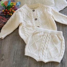 Sodawn jesienno-zimowa nowa odzież dziecięca chłopcy dziewczęta dzianinowy rozpinany sweter + spodenki garnitur ubranka dla dzie