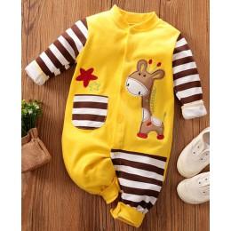 PatPat wiosna jesień bawełna dziecko żyrafa kieszeń projekt kombinezon noworodka Romper piżamy w paski jednorzędowe