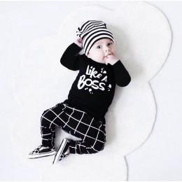 2019 jesień w stylu Baby Boy ubrania noworodka z długimi rękawami list jak szef T koszula + spodnie 2 sztuk/garnitur odzież dla