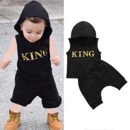 0-36M zestaw ubrań dla chłopców list King bluza z kapturem z nadrukiem dla chłopców solidna czarna bluza bez rękawów chłopięce s