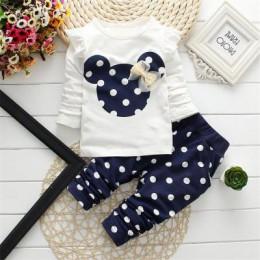 2019 wiosna nowe ubrania dla dzieci moda dziewczynka Out 2 sztuk płaszcz wierzchni + spodnie Cartoon zestaw noworodka bawełna ub