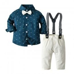 Top i góra wiosna bawełna Gentleman Baby Boys odzież odzież ustawia kratę z długim rękawem Biw do krawata i koszuli pajacyki sze