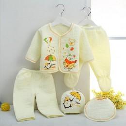 Bekamille 5 sztuk/zestaw jesienno-zimowa noworodka zestawy dla dzieci ciepłe bawełniane dziewczyny chłopcy kreskówki garnitury d