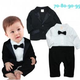 Nowe ubranka dla chłopca dżentelmen odzież dziecięca zestaw koszula z krawatem + płaszcz + spodnie noworodka ubrania dla dzieci