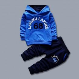 Maluch dres jesienne zestawy ubrań dla niemowląt dzieci chłopcy dziewczęta moda markowe ciuchy dla dzieci z kapturem T-shirt i s