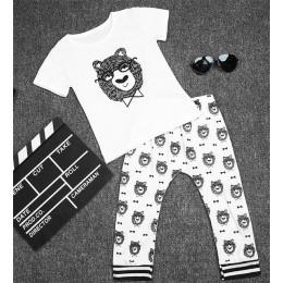 TANGUOANT nowy letni styl bawełna małe potwory z krótkim rękawem odzież dla niemowląt 2 szt. Zestawy ubrań dla niemowląt baby bo