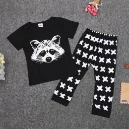 TANGUOANT zestawy ubrań dla chłopców dziewczynek chłopców Fox bawełniane topy t-shirt + spodnie legginsy 2 sztuk stroje zestaw k