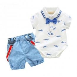 0-2Y lato noworodka chłopiec Romper ubrania zestaw mały rekin T-shirt kombinezony + niebieskie spodenki stroje ubrania dla dziec