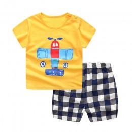 2019 nowy letni kostium dla dzieci moda nadruk kreskówkowy dla niemowląt chłopcy i dziewczęta zestawy ubrań bawełna 0-2Y zestawy