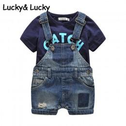 Bebes nowonarodzone ubrania bawełniana koszulka z nadrukiem na literę z kombinezonami demin ubranka dla chłopców letnie ubrania