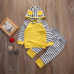 Noworodek zestaw ubrań dla chłopców żółta, długa sukienka rękaw chłopcy bluzy bluza bluzki w paski długie spodnie zestaw dla dzi