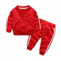 Tem Doger zestawy ubrań dla niemowląt wiosna niemowlę noworodek chłopiec dziewczyny garnitur casual kurtka z zamkiem + spodnie 2