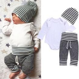 3 szt. Niemowlę noworodek chłopiec zestaw ubrań trwała bawełna białe pajacyki i spodnie w paski długie spodnie zestaw 3-18M